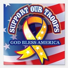 """Support-Our-Troops Square Car Magnet 3"""" x 3"""""""