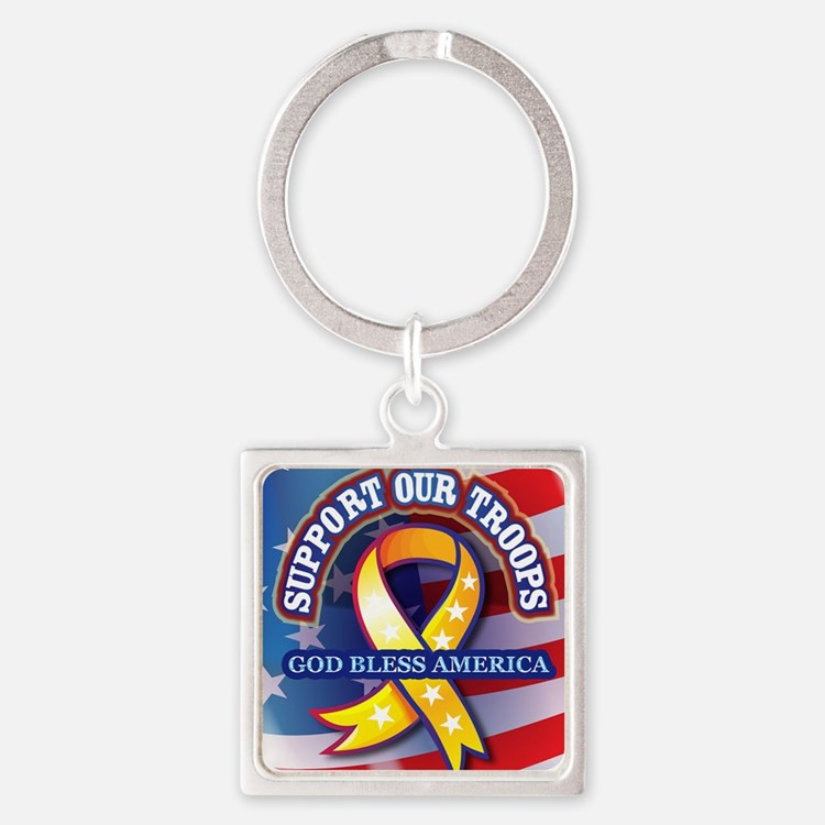 Support-Our-Troops Square Keychain