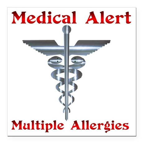 "Multipe Allergies Medica Square Car Magnet 3"" x 3"""