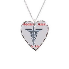 Multipe Allergies Medical Ale Necklace Heart Charm