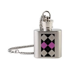 pink black Tartan4g2 Flask Necklace