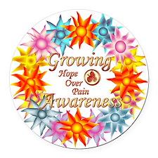 Growing Awareness Hope Over Pain  Round Car Magnet