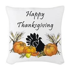 Happy Thanksgiving Woven Throw Pillow