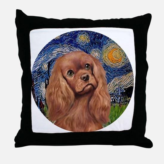 J-ORN-StarryNight-RubyCavalier Throw Pillow