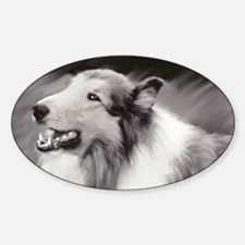 B&W Laughing Collie Oval Decal