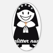 Glitter Nun Sticker (Oval)
