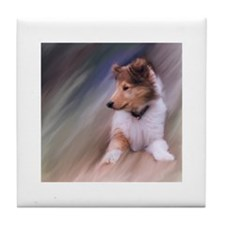 Collie Puppy Profile Tile Coaster