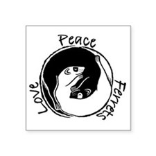 "Ferret Peace Love Square Sticker 3"" x 3"""