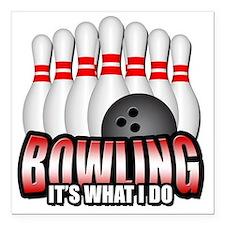 "bowling Square Car Magnet 3"" x 3"""