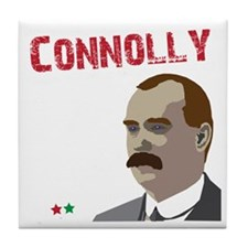 James Connolly quote on black Tile Coaster