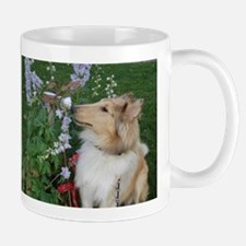 Collie Pup Smelling Flowers Mug