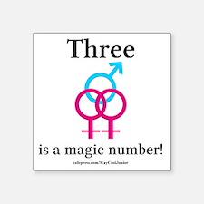 "threepinkblue Square Sticker 3"" x 3"""