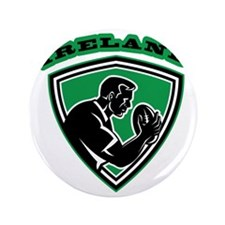 """rugby player with ball Ireland shield 3.5"""" Button"""