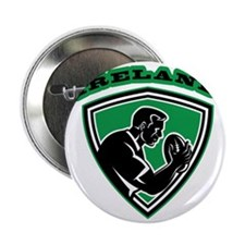"rugby player with ball Ireland shield 2.25"" Button"
