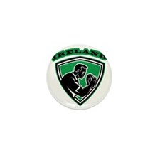 rugby player with ball Ireland shield Mini Button