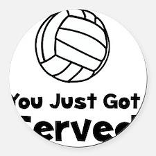 Volleyball Served Black Round Car Magnet
