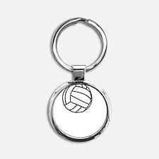 Volleyball Served White Round Keychain