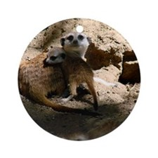 A Mommy and Baby Meerkat Round Ornament
