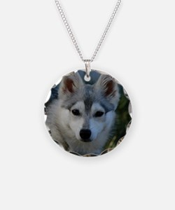 Alaskan Klee Kai Puppy Portr Necklace Circle Charm