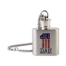 1 Dad USA B Flask Necklace