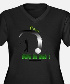 Four Hole in Women's Plus Size Dark V-Neck T-Shirt