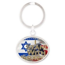 I stand with Israel Oval Keychain
