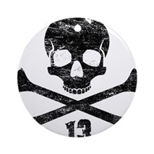 crossbones distressed black Round Ornament