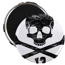 crossbones distressed black Magnet