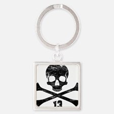 crossbones distressed black Square Keychain