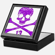 crossbones distressed purple Keepsake Box
