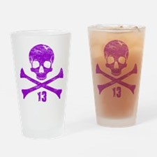 crossbones distressed purple Drinking Glass