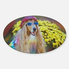 Flower Child Collie Oval Decal