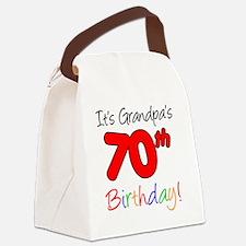 Its Grandpas 70th Birthday Canvas Lunch Bag