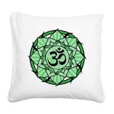 aum-green Square Canvas Pillow
