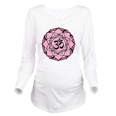 aum-pink Long Sleeve Maternity T-Shirt