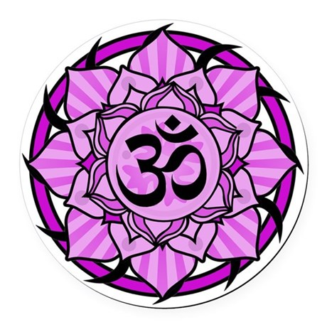 aum-purple Round Car Magnet