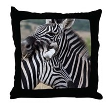 nuzzling zebras Throw Pillow