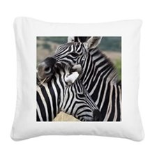nuzzling zebras Square Canvas Pillow