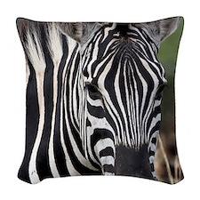 single zebra Woven Throw Pillow