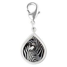zebra nuzzling note Silver Teardrop Charm