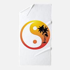 Palm Trees at Sunset Yin Yang Beach Towel