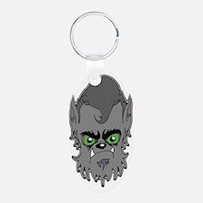 Grey Wolfman Aluminum Oval Keychain