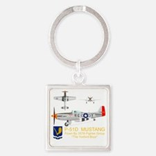 Mustang_Yeager_Front_Dk Square Keychain