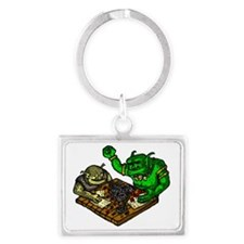 Trolls playing a Fantasy RPG Landscape Keychain