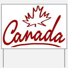 Canada Leaf Script W Yard Sign