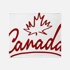 Canada Leaf Script W Throw Blanket