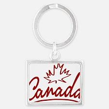 Canada Leaf Script W Landscape Keychain