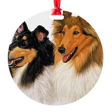 Double Rough Collie Ornament