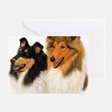 Double Rough Collie Greeting Card