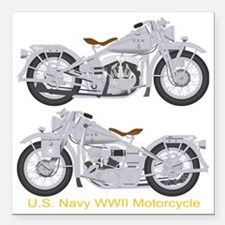 "Motorcycle_Navy_Dk_Front Square Car Magnet 3"" x 3"""